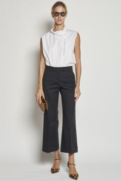 Navy blue trousers with turn-ups