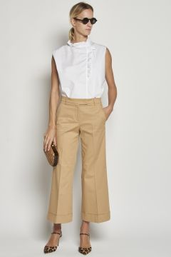 Sand trousers with turn-ups