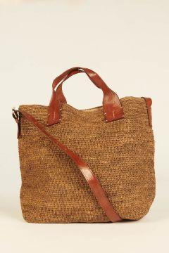 Dark Tea Mety woven rafia bag