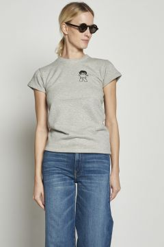 Gray t-shirt with embroidered milaura logo