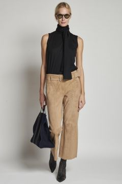 beige suede trousers with belt