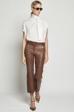 Brown leather trousers with belt