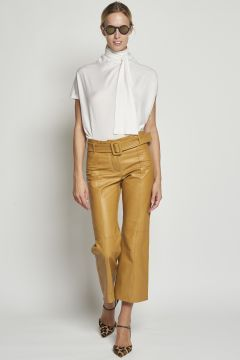Mustard leather trousers with belt