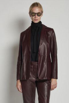 single-breasted burgundy leather blazer