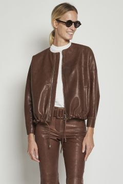Brown jacket with zip