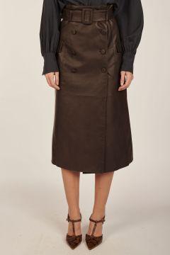 Leather midi-skirt