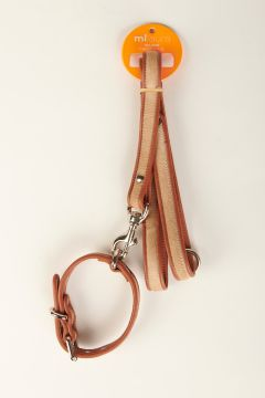 Beige pony skin leash and collar with leather edge