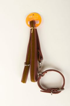 Green pony skin leash and collar with leather edge