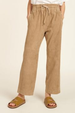 Dove gray suede trousers with elastic