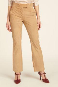 milaura leather pantalone dritto beige in camoscio