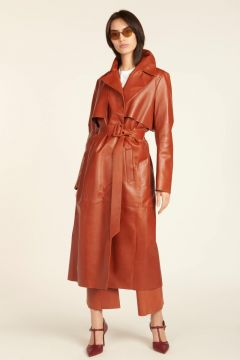 Orange leather trench coat