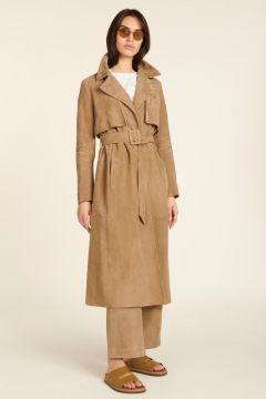 Dove-gray suede trench coat