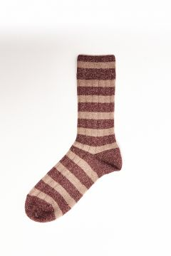 Burgundy lurex striped socks