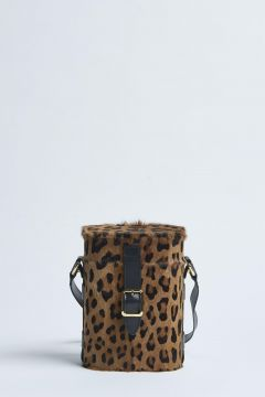 mini safari bag made of goatskin with a long pile print and black cowhide trimmings