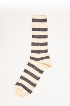 Ivory lurex striped socks