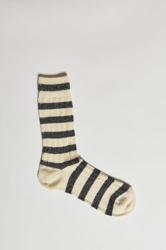 black and ivory striped lurex ribbed socks