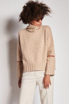 Camel melange turtleneck in cashmere with band on the arm