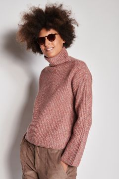 Melange ribbed cashmere turtleneck