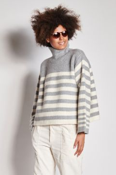 Ivory and gray striped cashmere turtleneck