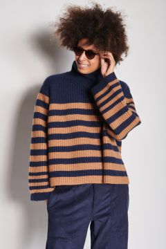 Blue and camel striped cashmere turtleneck