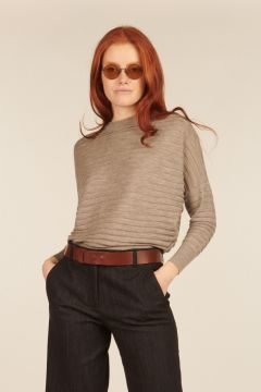 Gray sweater with horizontal ribbed