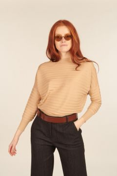 Beige sweater with horizontal ribbed