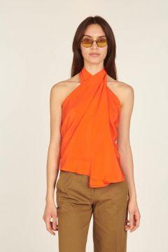 Orange asymmetrical sleeveless top