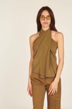 Military green asymmetrical sleeveless top
