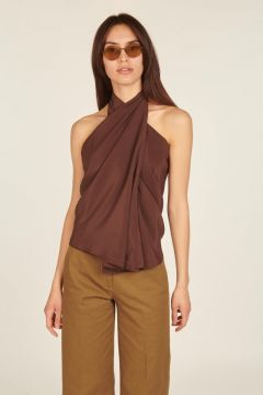 Brown asymmetrical sleeveless top