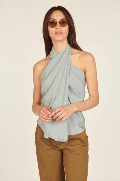 Light blue asymmetrical sleeveless top