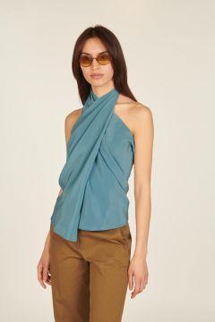 Turquoise asymmetrical sleeveless top