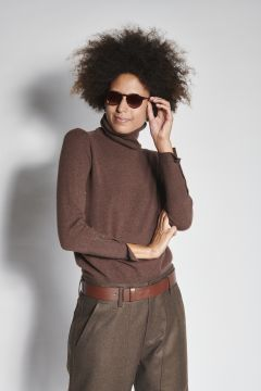 Brown turtleneck with buttons on the cuffs