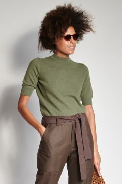 Sage short-sleeved cashmere crewneck