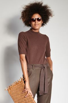 Brown short-sleeved cashmere crewneck