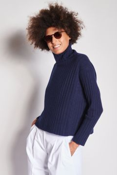 Blue ribbed over cashmere sweater