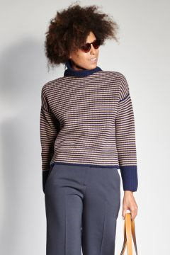 Blue and camel thin striped sweater
