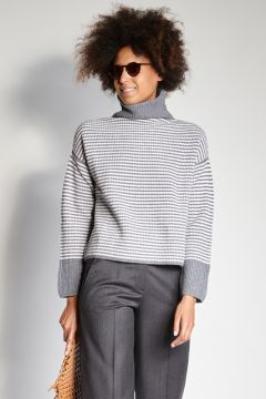 Gray and ivory thin striped sweater