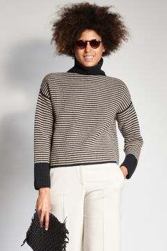 Black and beige thin striped sweater