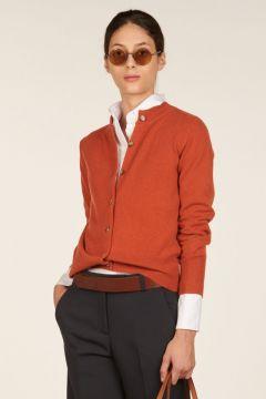 Mandarin collar orange cashmere cardigan