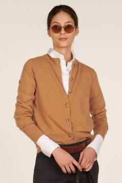 Mandarin collar camel cashmere cardigan