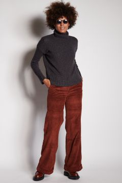 Brick velvet trousers with turn-up