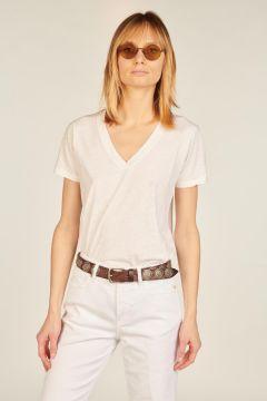 White Oristano V-neck t-shirt
