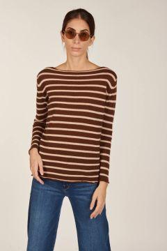 Striped boat neckline knit