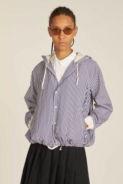 blue striped jacket with hood