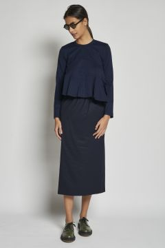 blue sheath skirt with elastic