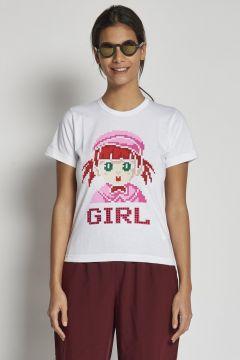 t-shirt bianca con bambolina swarovski
