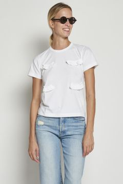 White cotton t-shirt with ruffles