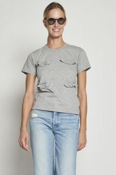 Gray cotton t-shirt with ruffles