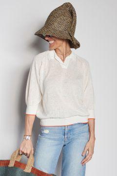 White linen polo shirt