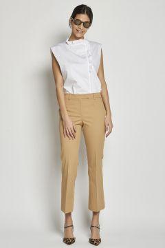 pantalone stretto cropped in cotone